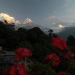 Der erste Blick auf Annapurna South und Mt. Machhapuchre